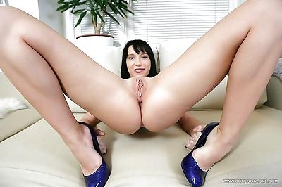 Young anal slut Lina strips..