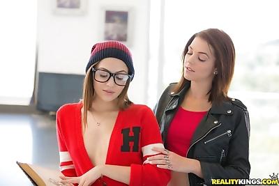 Frisky young lesbian seduces..