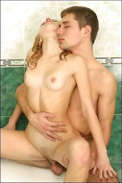 Blond slutty teen having sex..