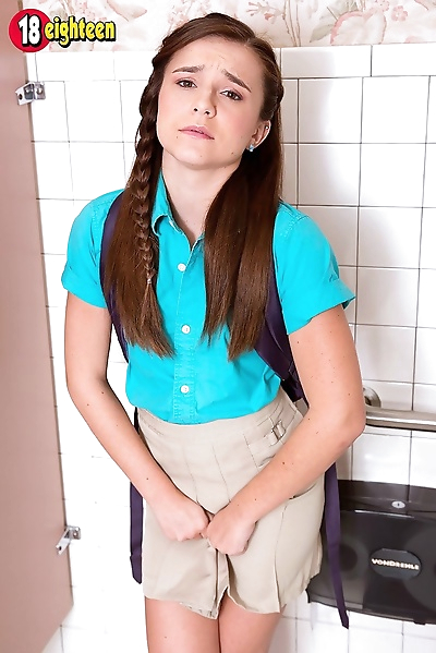 Shy schoolgirl peeing and..